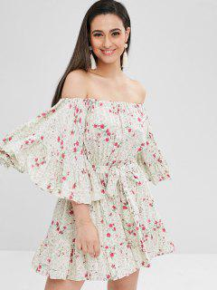 Floral Butterfly Sleeve Belted Dress - Multi L
