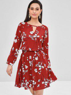 Long Sleeve Keyhole Floral Dress - Chestnut Red S