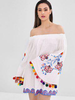 Mini Robe Brodée à Manches Evasées Avec Pompon - Blanc M