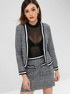 Plaid Houndstooth Jacke Und Rock Set - Multi M