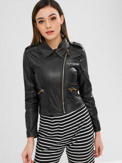 Zippered Faux Leather Biker Jacket - Black S