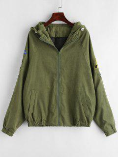Patched Hooded Zip Up Jacket - Army Green M