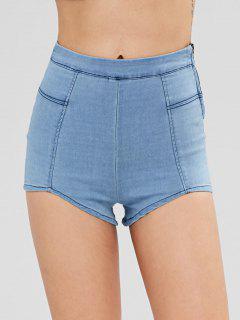 Stretchy Denim Hot Pants - Denim Blue L
