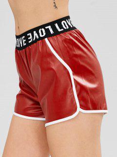 Letra De Cuero De Imitación Pantalones Cortos Gráficos - Rojo