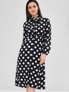 Polka Dot Bow Collar Midi Dress - Black
