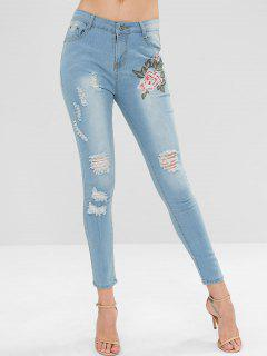 Light Wash Distressed Floral Embroidered Jeans - Pastel Blue S