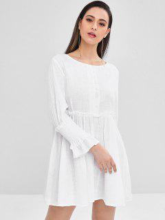 Half-button Shirred-detail Smock Dress - White M