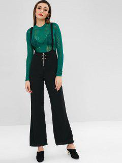 Ring Zippered Suspender Pants - Black S