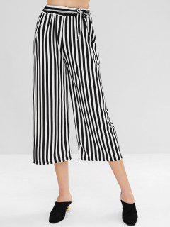 Wide Leg Stripe Belted Pants - Black