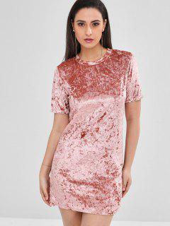 Short Velvet Fitted Tee Dress - Pink L