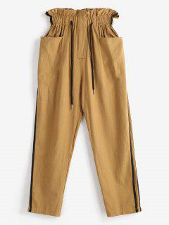 Drawstring Side Striped Pants - Cookie Brown M