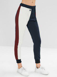 Color Block Drawstring Jogger Pantalones Deportivos - Multicolor L
