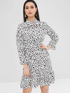 Tie Neck Long Sleeve Leopard Dress - Leopard