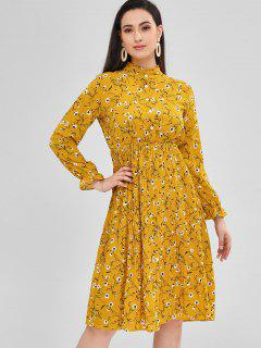 Floral Swing Pleated Dress - Golden Brown L