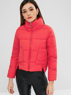 Patch Pockets Puffer Jacket - Lava Red M