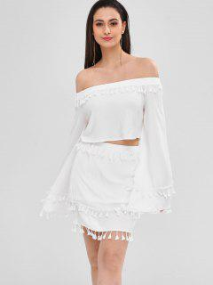 Flare Sleeve Crop Tassel Top And Skirt Set - White L