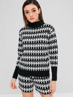 Mock Neck Graphic Sweater Und Shorts Set - Schwarz