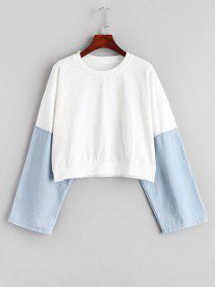 Sweat-shirt à Col Rond En Denim - Blanc