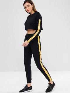 Rivet Crop Sweatshirt And Pants Set - Black M