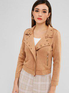 Studed Faux Suede Biker Jacket - Camel Brown M
