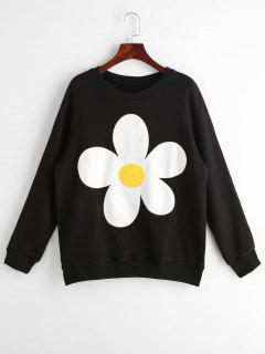 Flower Graphic Raglan Sleeve Sweatshirt - Black M