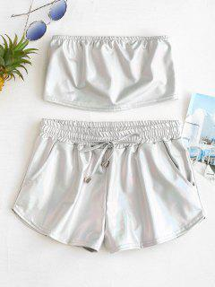 Holographic Bandeau Top And Shorts Set - Silver M
