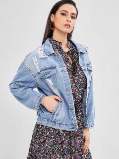 Button Up Pocket Distressed Jean Jacket - Denim Blue L