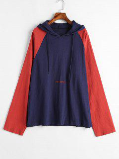 Two Tone Embroidered Hoodie - Cadetblue