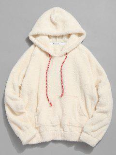 Sweat à Capuche Simple En Fausse Fourrure Avec Poche Kangourou - Blanc Chaud S