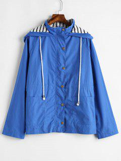 Stripes Panel Snap Button Hooded Jacket - Ocean Blue M
