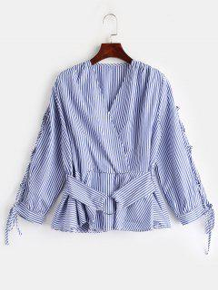 Stripes Skirted Lace Up Blouse - Blue M