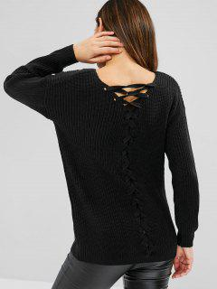 Lace Up Open Back Jumper - Black