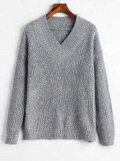 Suéter Con Cuello En V De Color Gris - Nube Gris