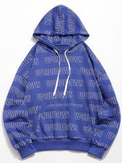Letter Print Kangaroo Pocket Hoodie - Blue M