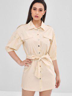 Shift Belted Shirt Dress - Apricot L