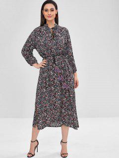 Tiny Floral Tassels Maxi Dress - Black L