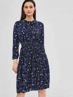Floral Pleated Long Sleeve Dress - Midnight Blue
