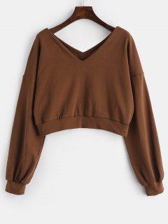 ZAFUL Plain V Neck Sweatshirt - Sepia L