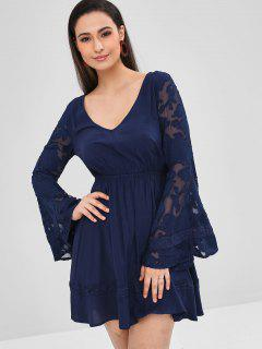 ZAFUL Flare Sleeve Semi Sheer Plunge Dress - Midnight Blue M