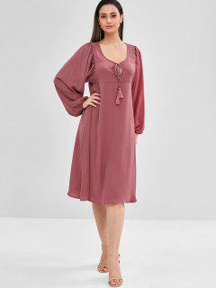 ZAFUL Long Sleeve Loose Knee Length Dress - Pale Violet Red M