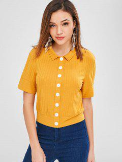 ZAFUL Button Up Casual Tee - Bee Yellow L