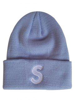 Letter S Flanging Knitted Slouch Beanie - Blue Gray