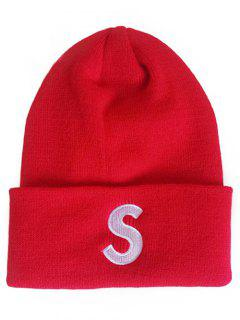 Letter S Flanging Knitted Slouch Beanie - Lava Red