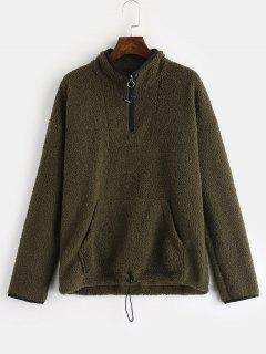 ZAFUL Pocket Zip Front Faux Shearling Teddy Sweatshirt - Army Green S