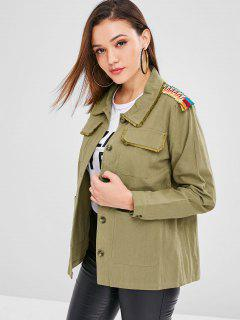 ZAFUL Pocket Frayed Trim Tunic Jacket - Army Green L