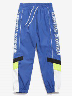 Letter Quick Dry Sports Jogger Pants - Blue M