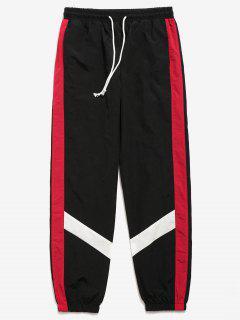 Pantalones Jogger A Rayas De Color Block - Negro Xs