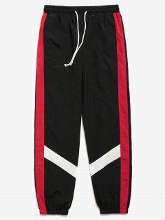 Color Block Striped Jogger Pants - Black L