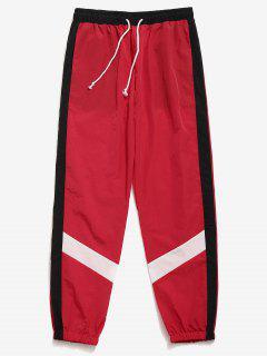 Color Block Striped Jogger Pants - Red L