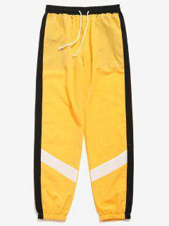 Color Block Striped Jogger Pants - Yellow L